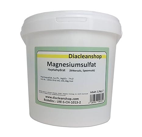 Sulfato de magnesio, 2,5 kg, pureza química, calidad de