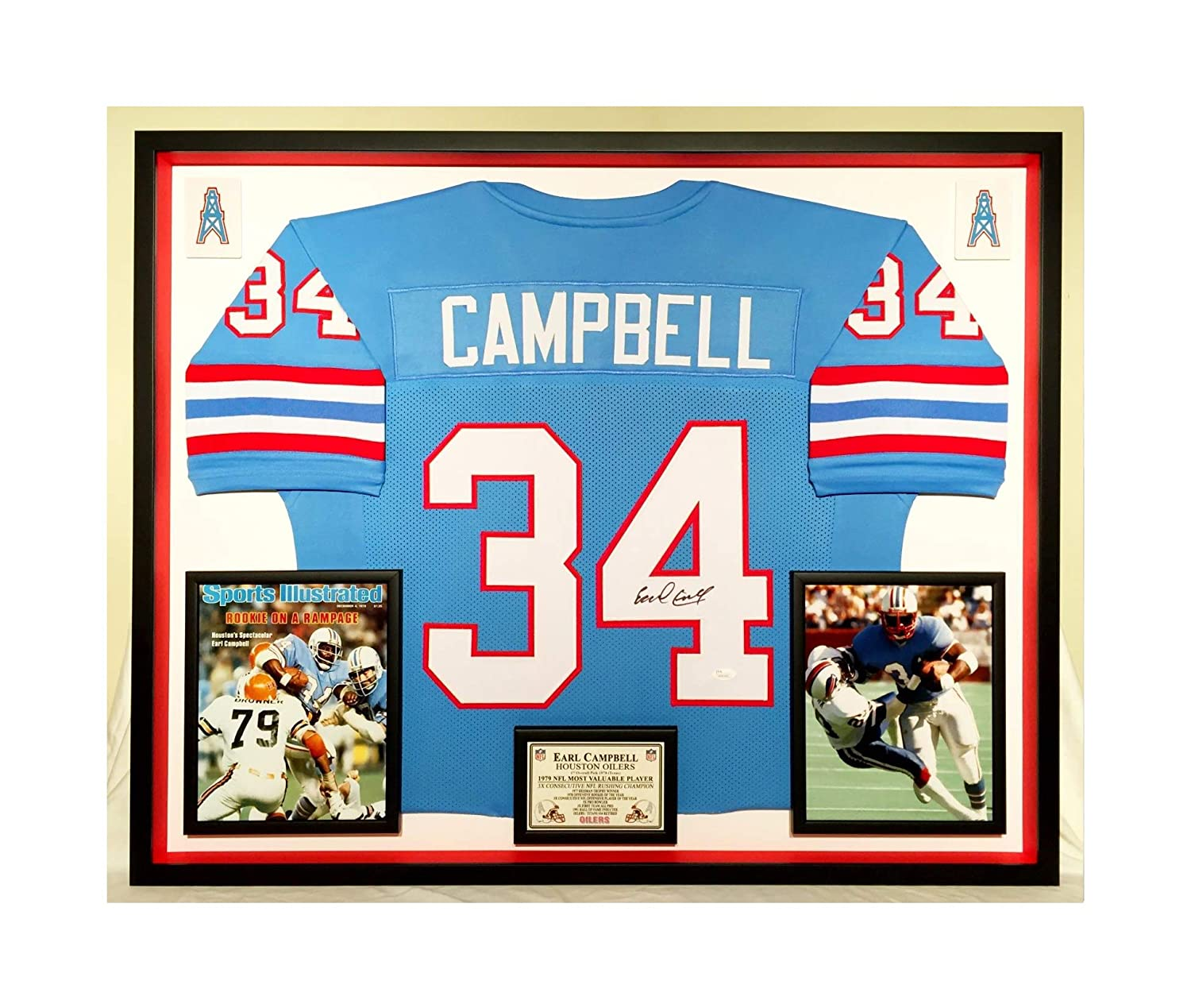 acd7a6605 Premium Framed Earl Campbell Autographed Signed Houston Oilers Jersey - JSA  COA at Amazon s Sports Collectibles Store