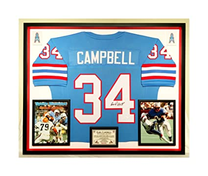 6909a1d35 Image Unavailable. Image not available for. Color  Premium Framed Earl  Campbell Autographed Signed Houston Oilers Jersey - JSA COA