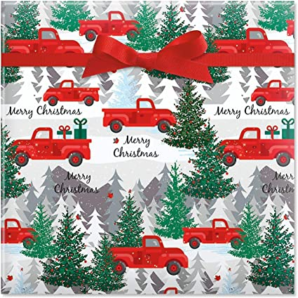 Amazon Com Current Red Truck Christmas Jumbo Rolled Gift Wrap 1 Giant Roll 23 Inches Wide By 35 Feet Long Heavyweight Tear Resistant Holiday Wrapping Paper Home Kitchen