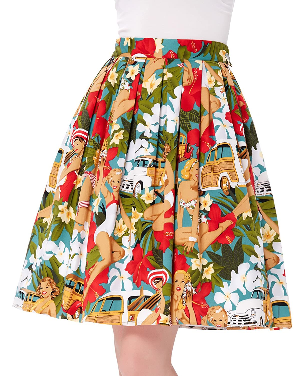 1950s Skirts; Pinup, Poodle, Pencil, Swing & Circle Skirts Tiki Pleated Vintage Skirts Floral Print CL6294 (Multi-Colored)  AT vintagedancer.com