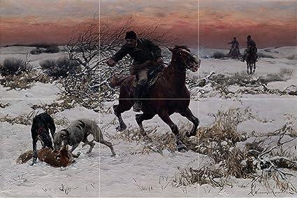 Tile Mural Landscape Winter Horse Man Hunting By Alfred Von