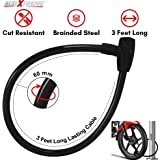 AllExtreme Universal Heavy Duty Cable Lock Stainless Steel Cable Coil Anti Theft Multipurpose Lock with 2 Security Keys for Bike, Bicycle, Motorcycle, Luggage and Helmet