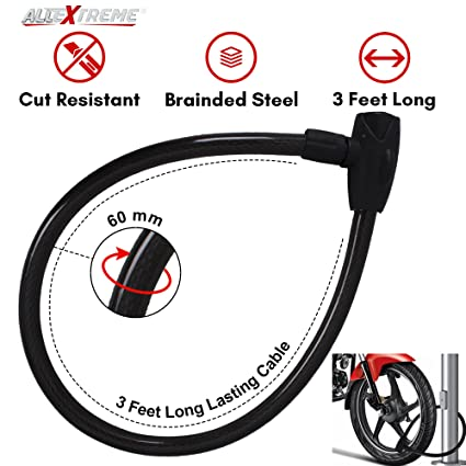 AllExtreme Universal Anti Theft Stainless Steel Cable Lock Coil with 2 Security Keys for Bike, Bicycle, Motorcycle and Helmet