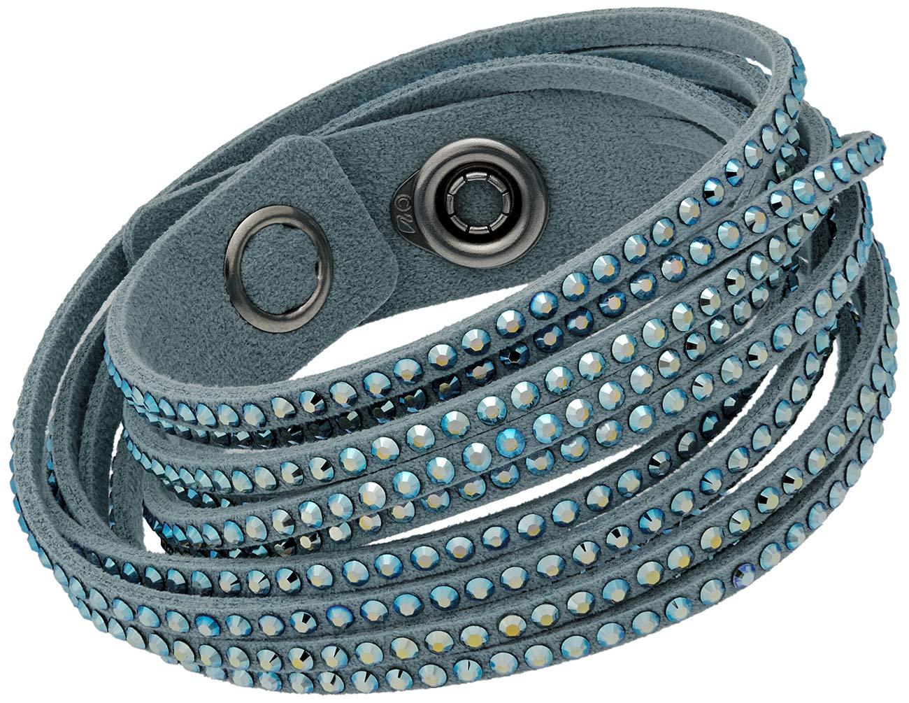 Swarovski 5046391 Women's Slake Light Blue Alcantara Bracelet