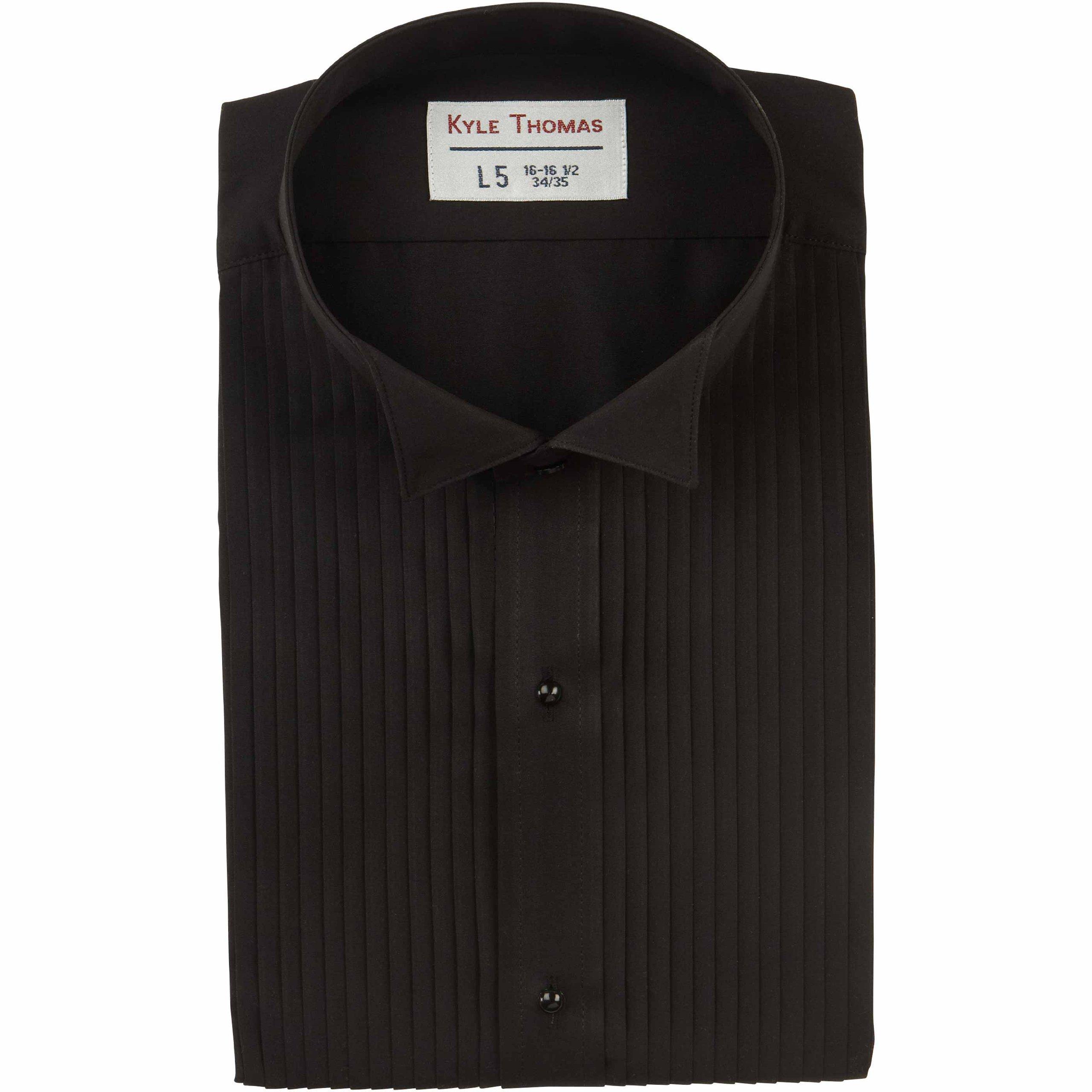 Kyle Thomas Men's 1/4'' Pleat Wing Collar Tuxedo Shirt , Black, L (16.5'' Neck)/ 35'' Sleeve