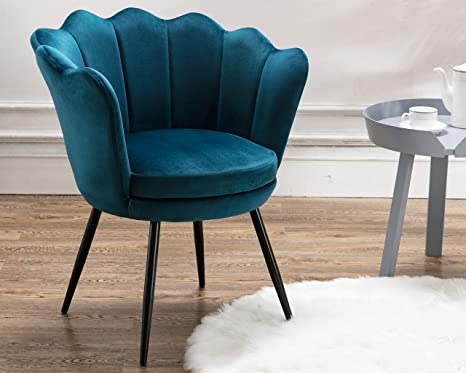 Amazon Com Cimota Blue Living Room Chairs Velvet Makeup Vanity Chair With Back Arm Modern Bedroom Accent Chair Cute Comfy Single Upholstered Chair With Black Metal Legs Teal Blue Kitchen Dining