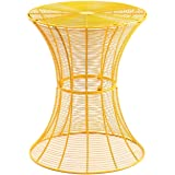 Adeco Accent Round Starburst End/ Side/ Tea Table/ Stool, Iron Wire Weave Netting, Yellow