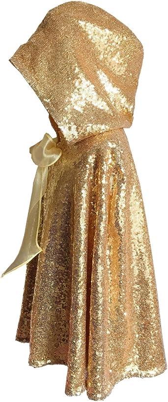Kids crushed velvet cape in gold