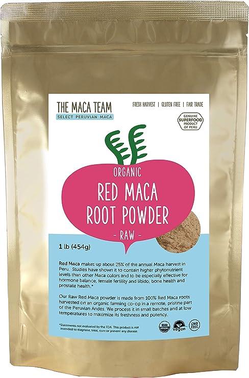 Maca Roja en polvo cruda BIO, 500 gr. Maca con los valores nutricionales más altos de todos los tipos. Cosecha orgánica certificada de Perú, comercio Justo, sin OGM, sin Gluten y Vegana,