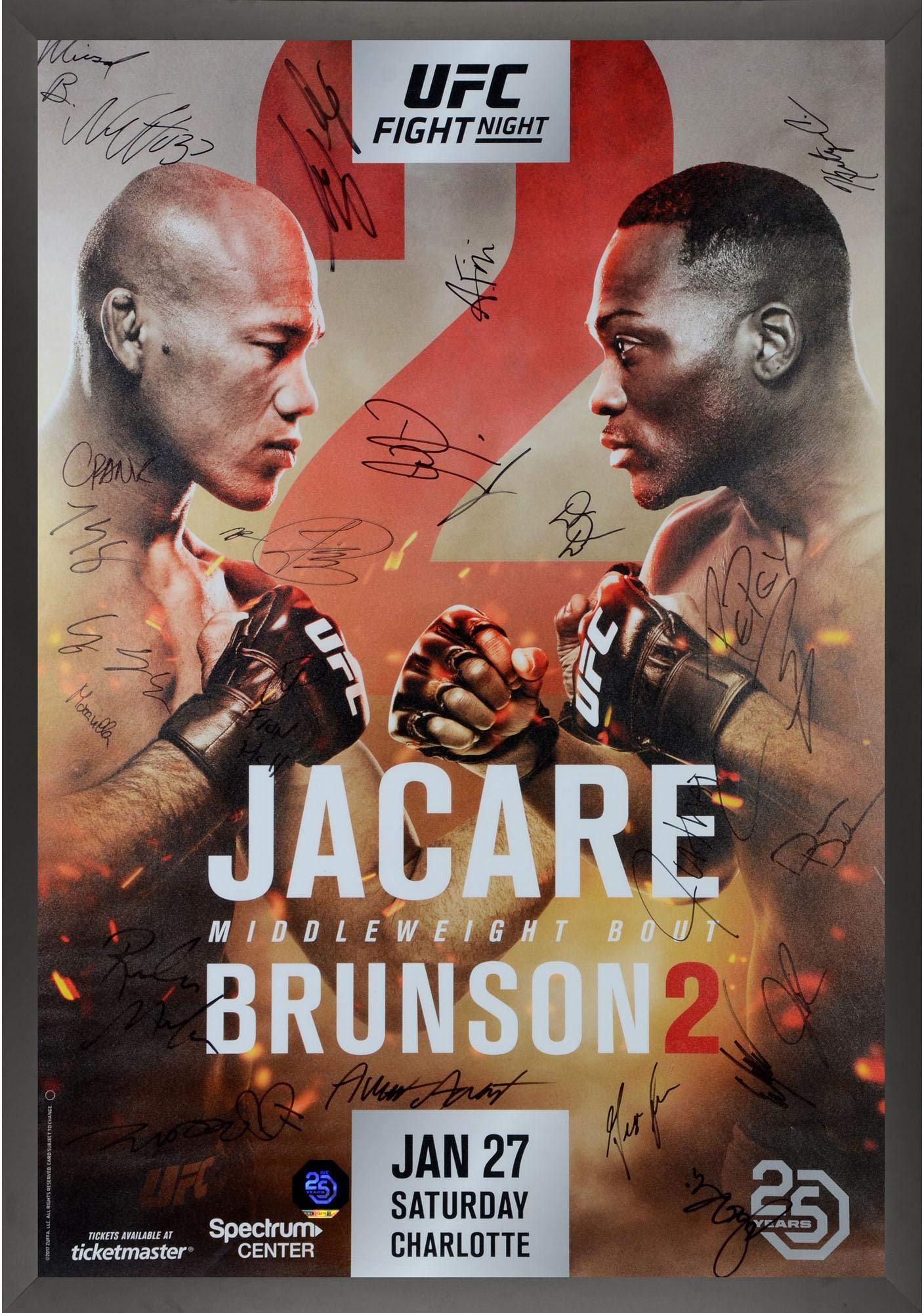 "UFC on FOX 27 Jacare vs. Brunson II Framed Autographed 27"" x 39"" 24 Signature Fight Poster Fanatics Authentic Certified"