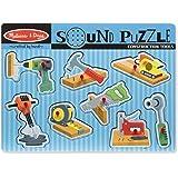 Melissa & Doug Construction Tools Sound Puzzle - Wooden Peg Puzzle (8 pcs)