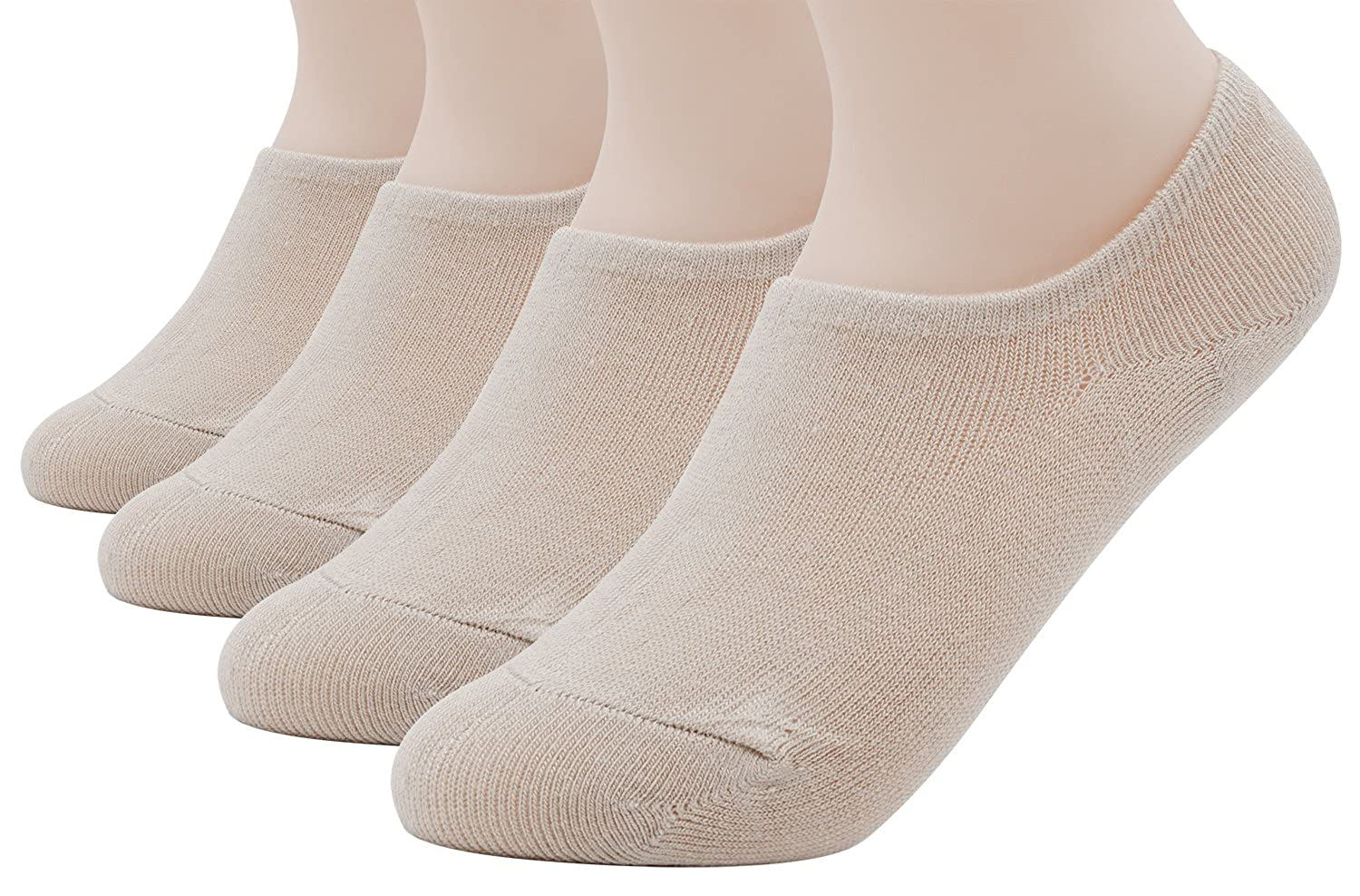 4 Pairs Womens Casual No Show Socks Low Cut Non Slip Flat Boat Line