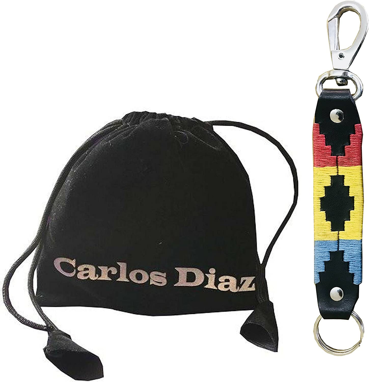 Carlos Diaz Llavero Polo De Cuero Argentino Marrón Bordado Y Bolsa ...