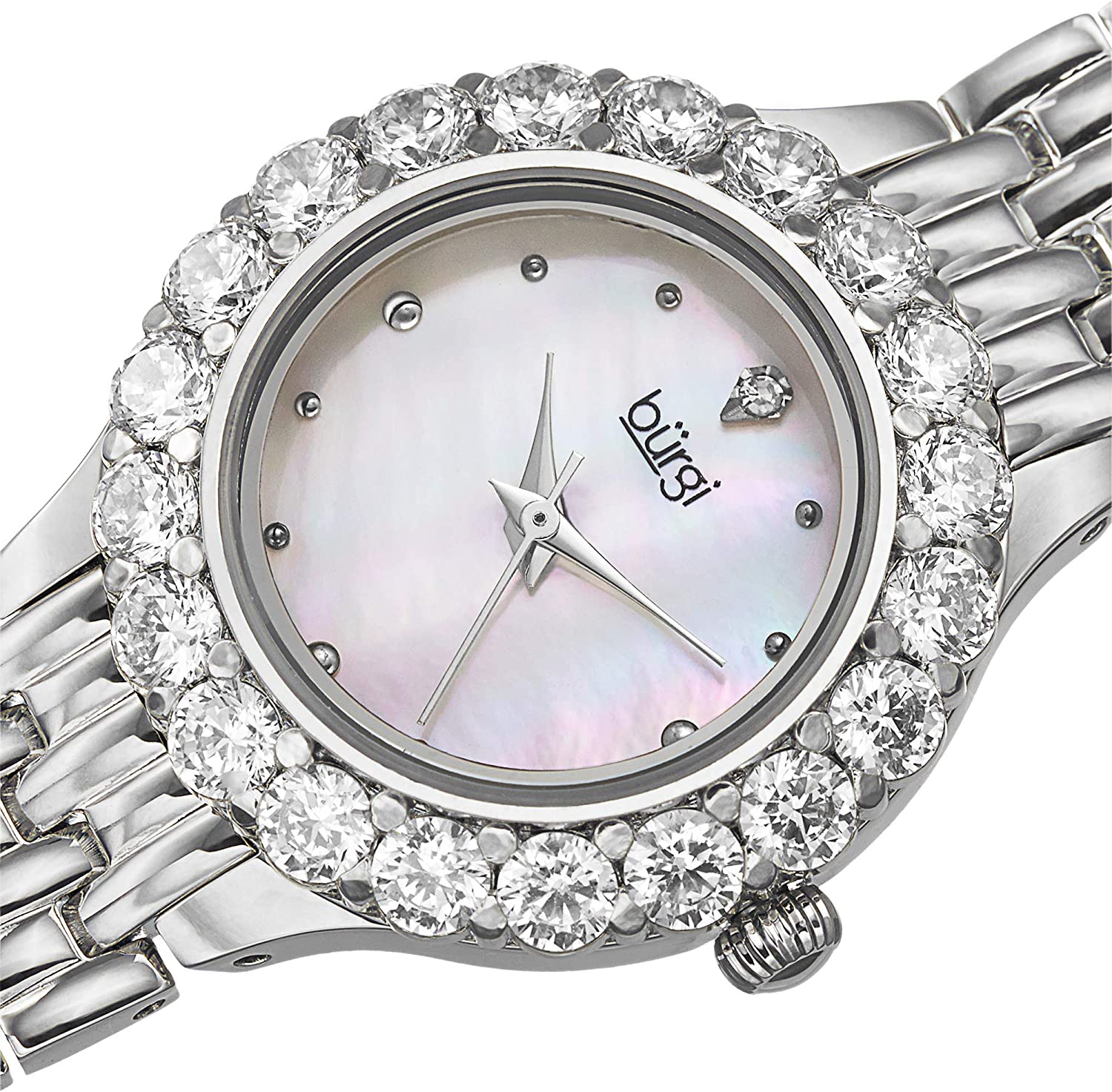 Burgi Women's Crystal Accented Watch - Mother of Pearl Dial Stainless Steel Bracelet - BUR107 Silver