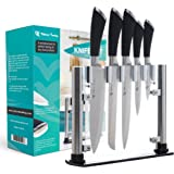 Stainless Steel Knife Set with Acrylic Stand by Viktoria Trading - 6 Piece Set for Use at Home & Professional Kitchen (5 Knives & Stand) – Durable, Multipurpose Cutlery Set for Cutting & Carving