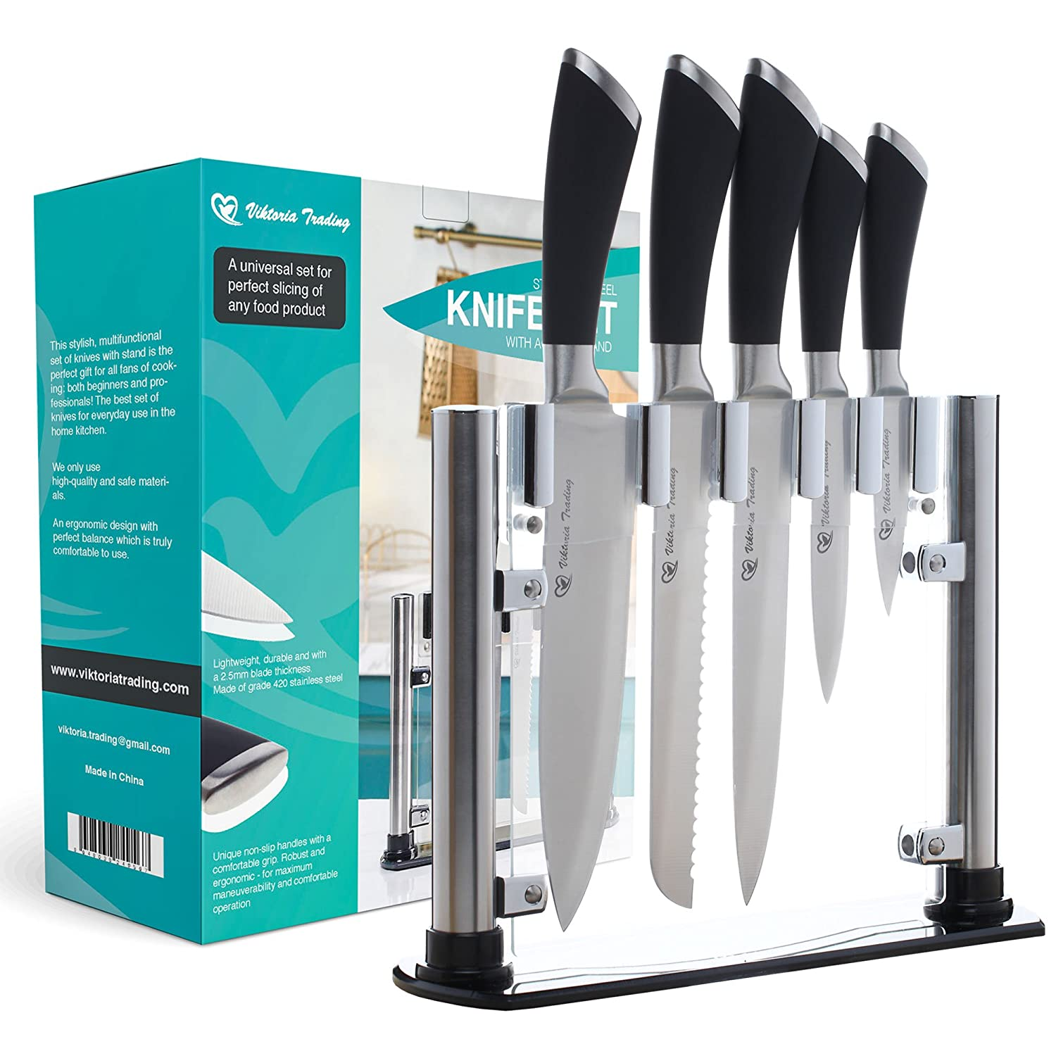 Amazon.com: Stainless Steel Knife Set with Acrylic Stand by Viktoria ...