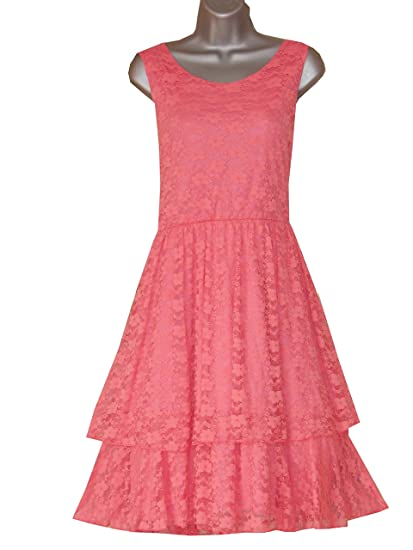 CURVACEOUS CLOTHING PLUS SIZE 2 TIERED LACE PROM DRESS (16, PEACH)