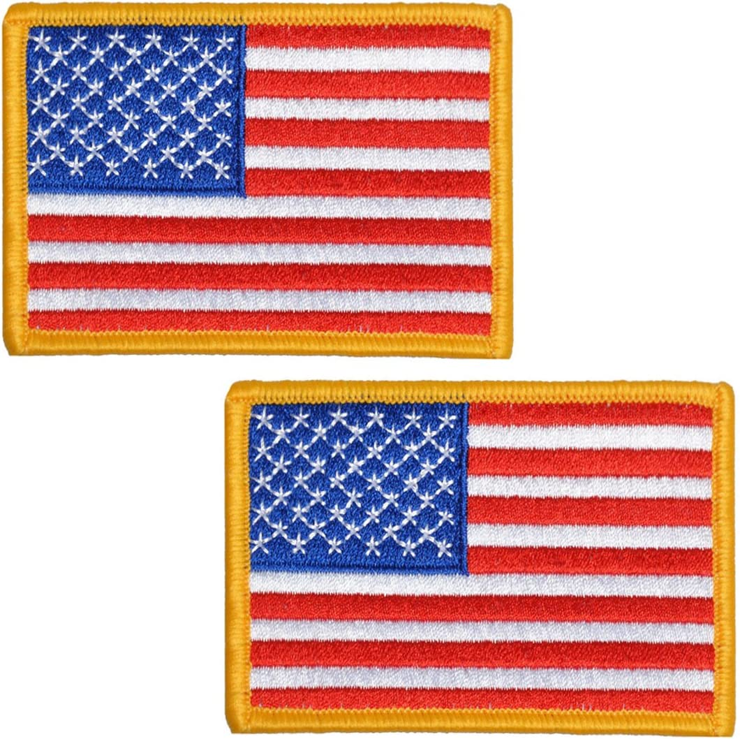 American Flag Stars-Right Yellow Border//USA Iron on Applique//Embroidered Patch