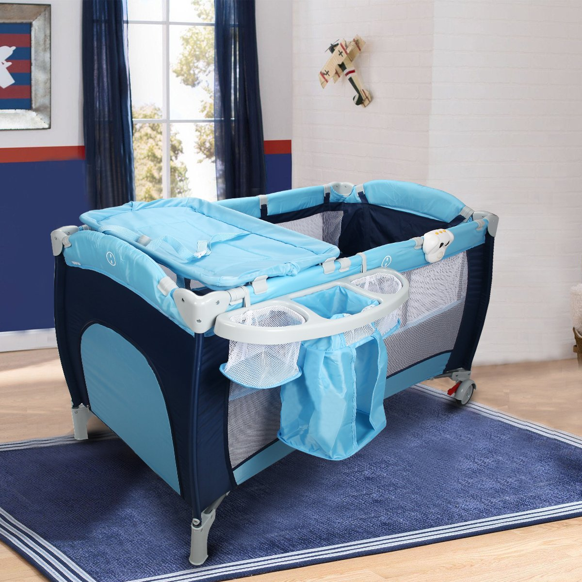 Costway Infant Travel Cot Bed Baby Play Pen Child Bassinet Playpen Entryway W/ Bag & Net Christmas Gifts (Blue)