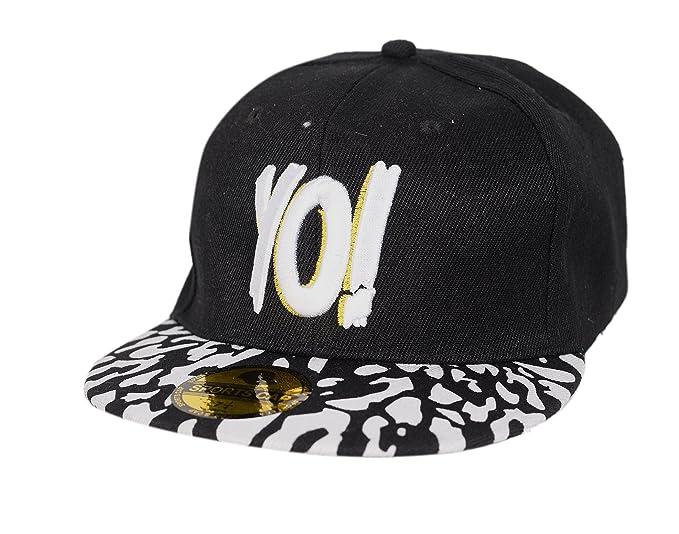 189872d64cb Krystle Unisex Cotton Black White YO Hip Hop Snapback Cap  Amazon.in ...