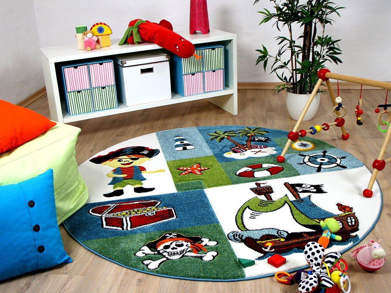 Maui Kids - Tapis pour enfant rond - motif pirate - 2 tailles disponibles