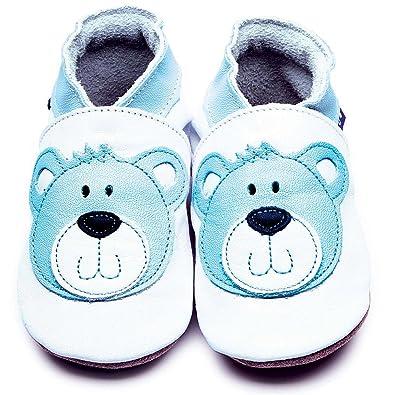 Inch Blue - Patucos de Piel para niña Azul azul, color Azul, talla Niño XL 5-6 años 20 cm