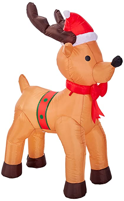 4 foot tall lighted christmas inflatable reindeer moose yard decoration - Moose Christmas Yard Decorations