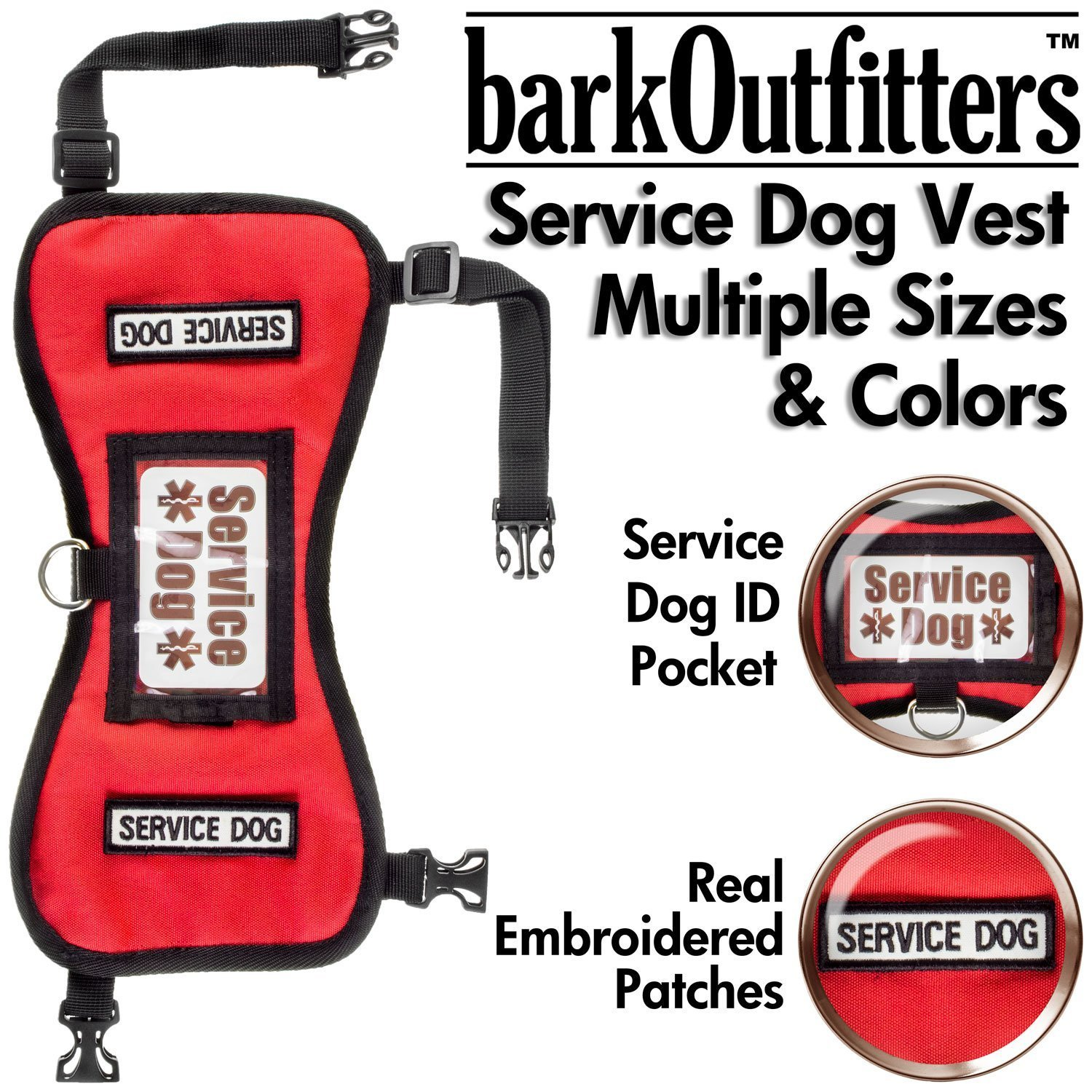 barkOufitters Service Dog Vest Harness 5 Sizes (Red, L (31'' - 39'' Girth))