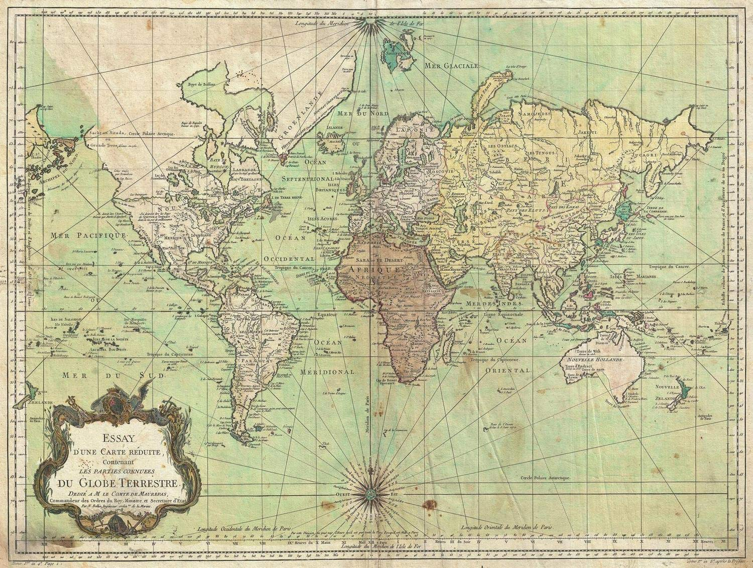 Amazon com: Historical 1778 Bellin Nautical Chart or Map of