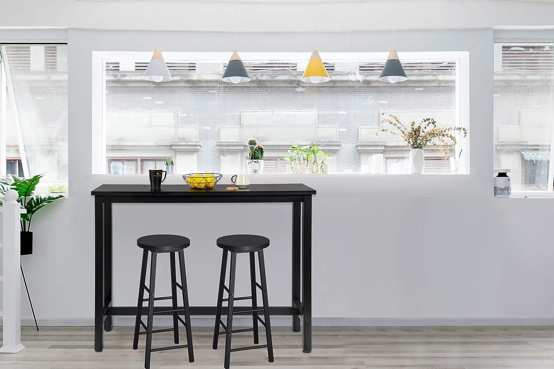 WOLTU Set Mobili da Bar Tavolo con 2 Sgabelli Alti Arredo per Cucina in Acciaio Legno BT30sz+BH130sz-2