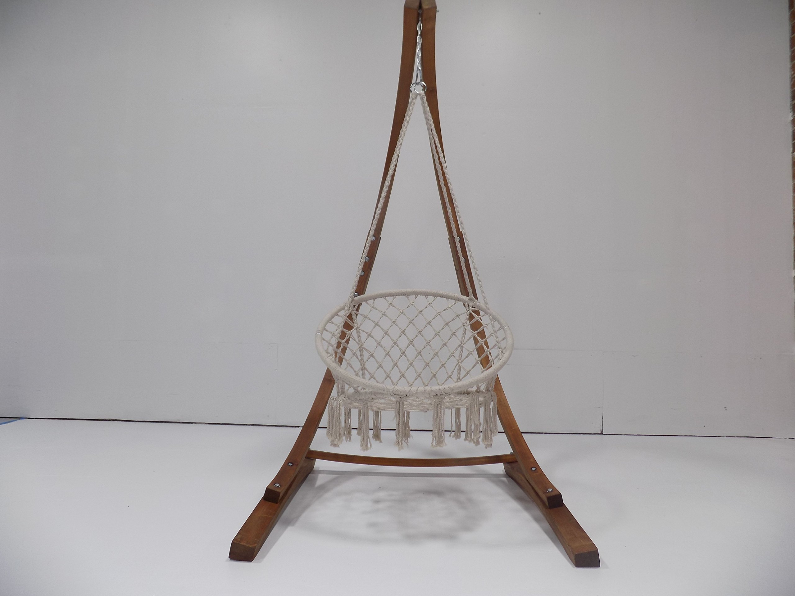 Petra Leisure 7 Ft. Teak Stain Hammock Chair Stand. Perfect for Indoor/Outdoor Home, Patio, Deck, Yard, Garden. 265LB Weight Capacity.(Stand Only) by Petra Leisure (Image #1)