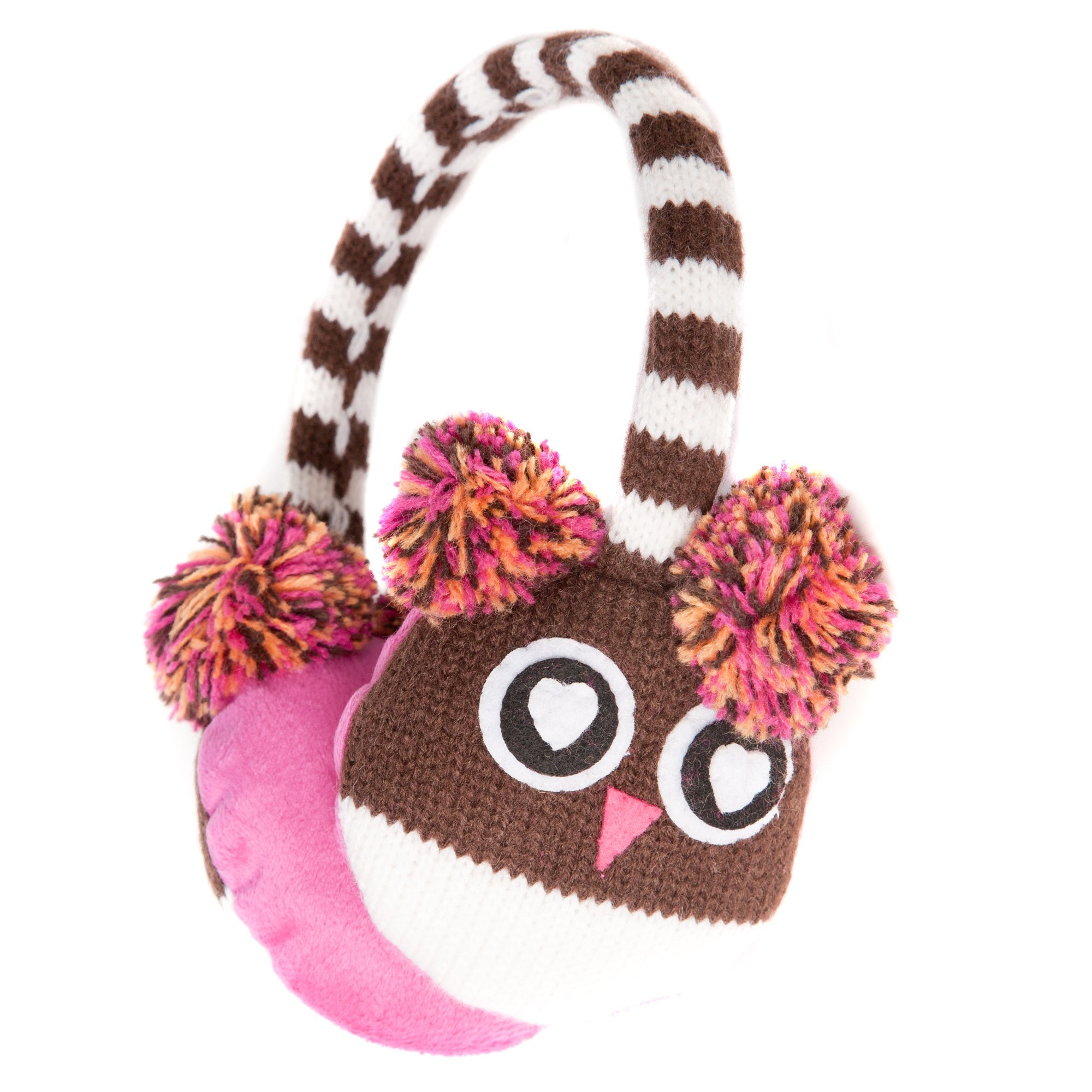 Accessoryo Women's Cute Owl Style Winter Thermal Fashion Earmuffs with Pompom Ears One Size Brown, White and Pink