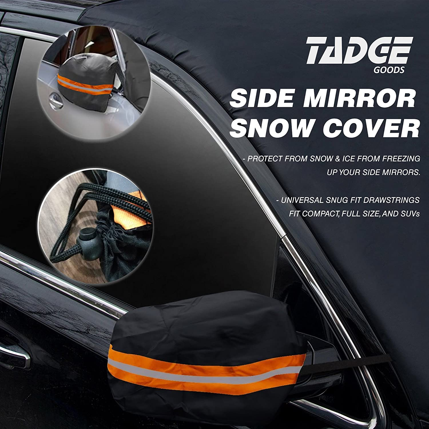 Smart Frost Guard Winter Protector Fits Car Free Bonus Ice Scraper /& Travel Pouch Truck Van SUV Tadge Goods XL Magnetic Ice Shield Snow Cover for Windshield