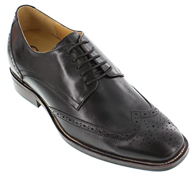 G60128-3 inches Taller - height Increasing Elevator Shoes (Black Leather Lace-up Wing-Tip)