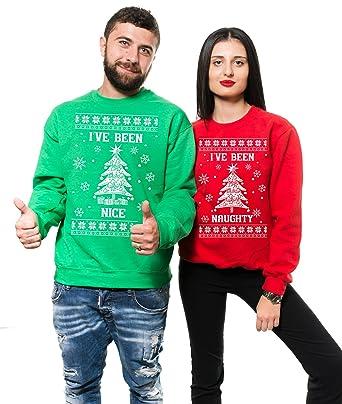 Christmas Party Couple Sweatshirts Ive Been Nice Naughty Matching