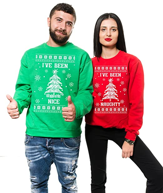 Silk Road Tees Sudaderas Pareja Fiesta de Navidad Que he Estado Bien Que he Estado Pareja traviesa Divertida a Juego Navidad del Partido Suéteres Fleece: ...