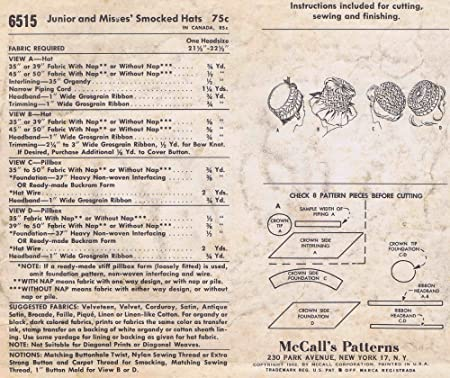 Amazon 1960s Smocked Hats Mccalls 6515 Vintage Sewing Pattern