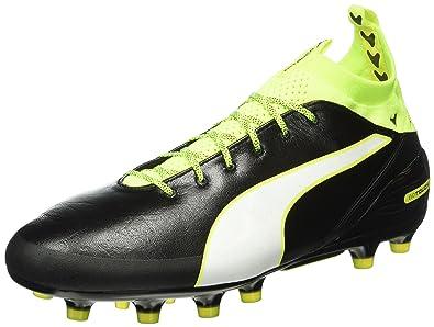 Puma Evotouch Pro FG, Chaussures de Football Compétition Homme, Noir (Black-White-Safety Yellow 01), 44.5 EU