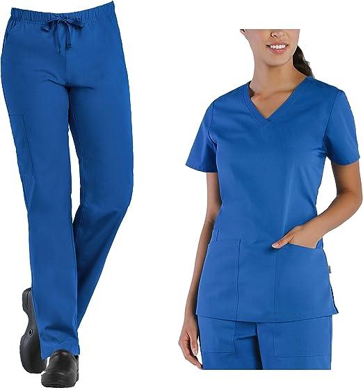 Scrubs SET Unisex Solid Dark Navy Blue TOP /& PANTS Set by Blue