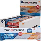 Maximuscle Cyclone High Protein and Creatine Bar, Chocolate Caramel, 60 g, Pack of 12
