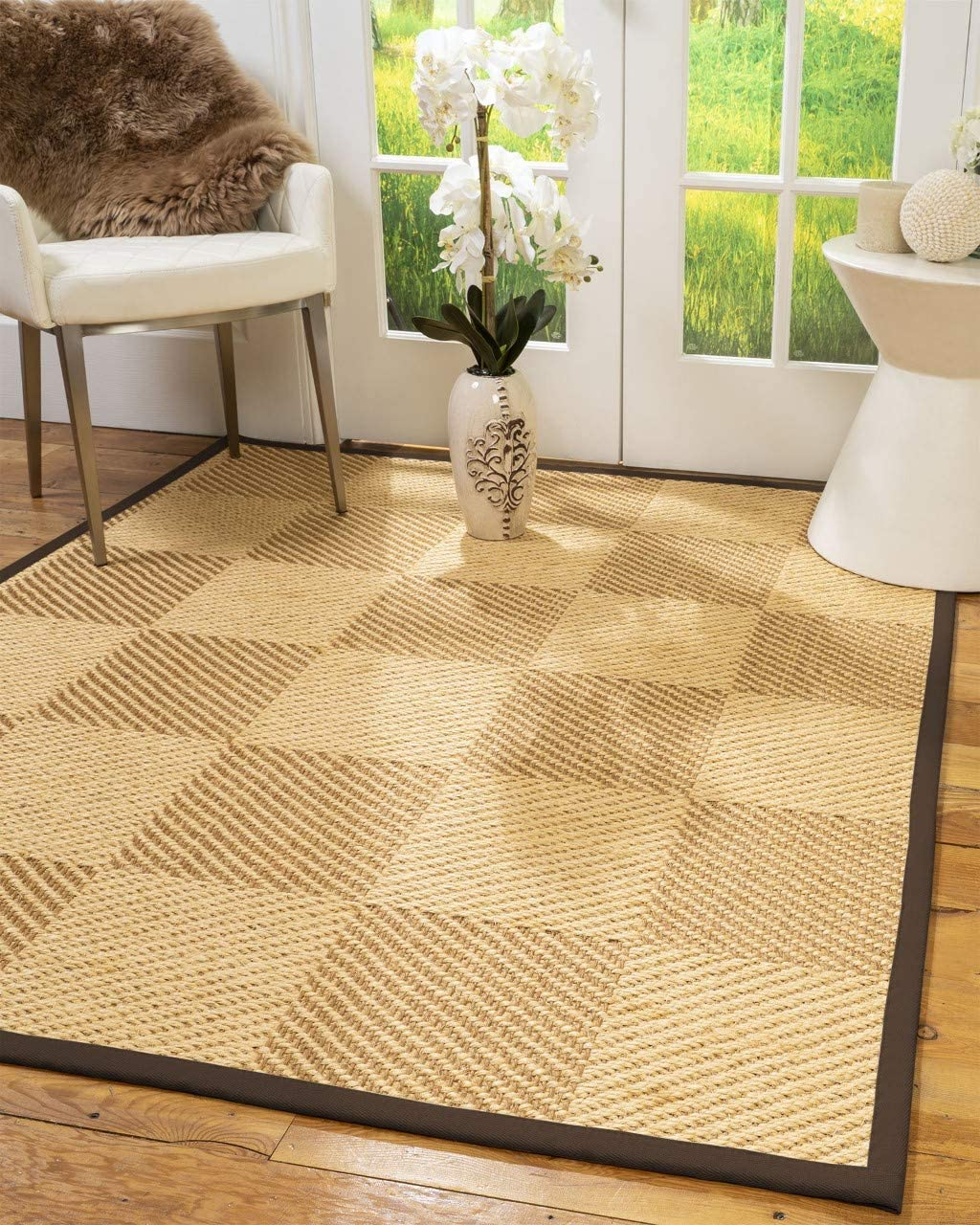 Natural Area Rugs 100 Natural Fiber Handmade Osaka, Beige Gold Sisal Rug, 12 x 18 Fudge Border
