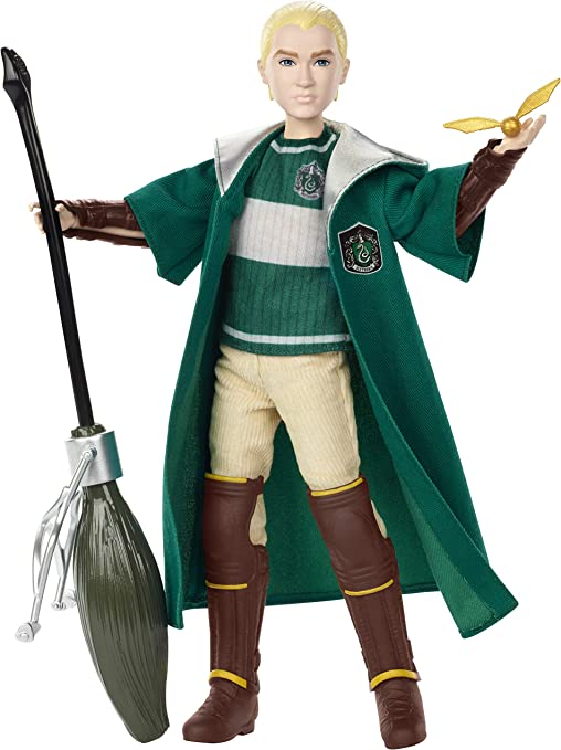 Harry Potter Quidditch Muñeco Draco Malfoy, juguetes niños + 6 años (Mattel GDJ71)