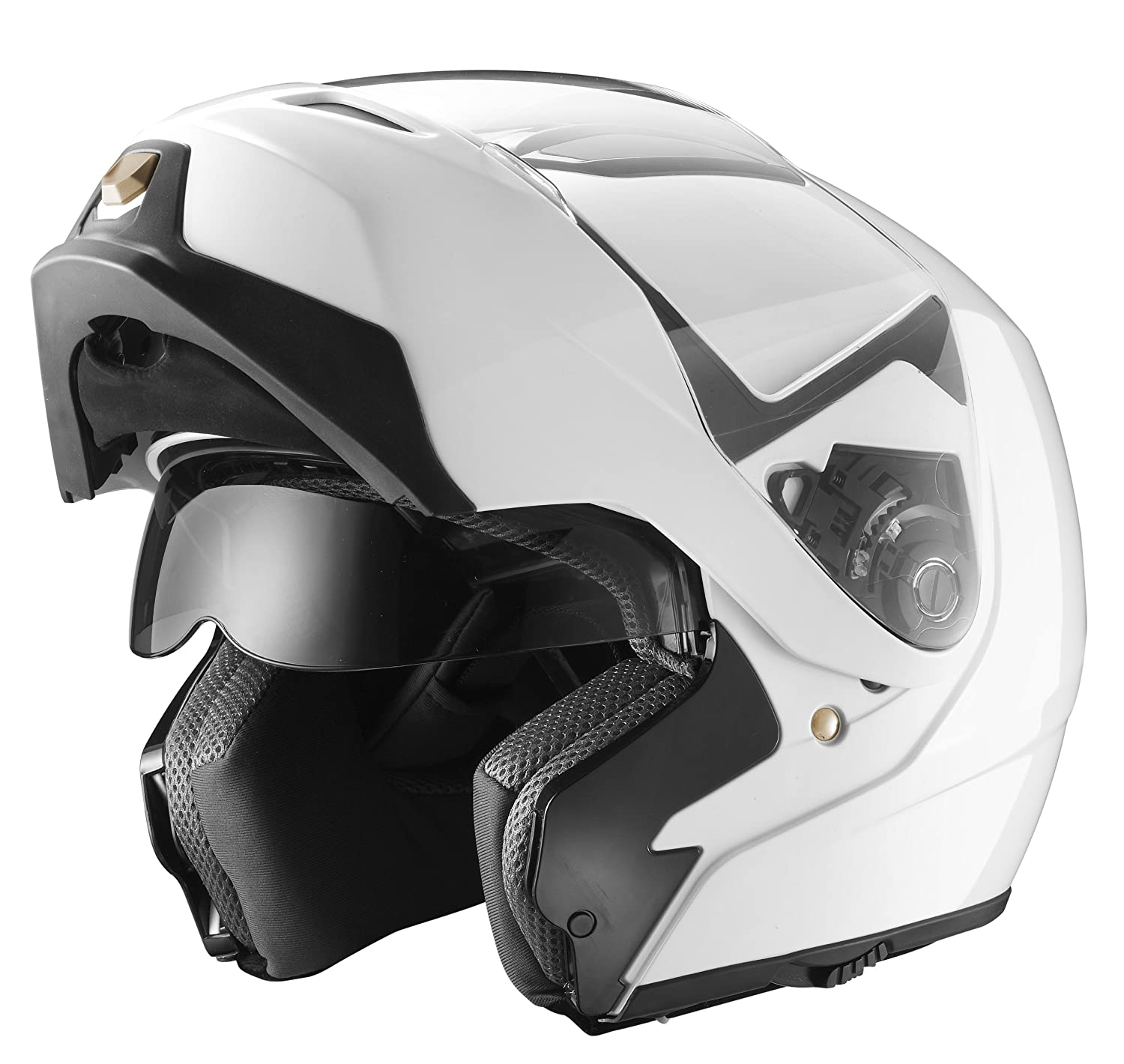 best motorcycle helmets, GLX Modular Helmet with Sun Shield (White, Medium)