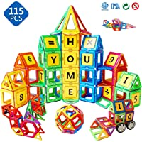 Magblock 115 Piece Magnetic Tiles Blocks Toys Set for Boys&Girls Age 3 4 5 6 7 8,STEM Educational Magnets Tiles Gifts for Toddlers Kids