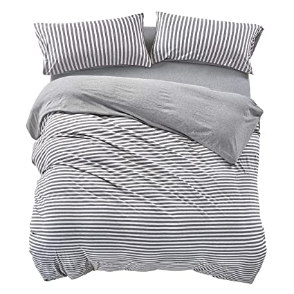 db967f626174 Amazon.com  PURE ERA Striped Duvet Cover Set Jersey Knit Cotton Soft Comfy  3 Pieces Home Bedding Sets Reversible Duvet Cover with Pillow Shams Grey  Queen  ...