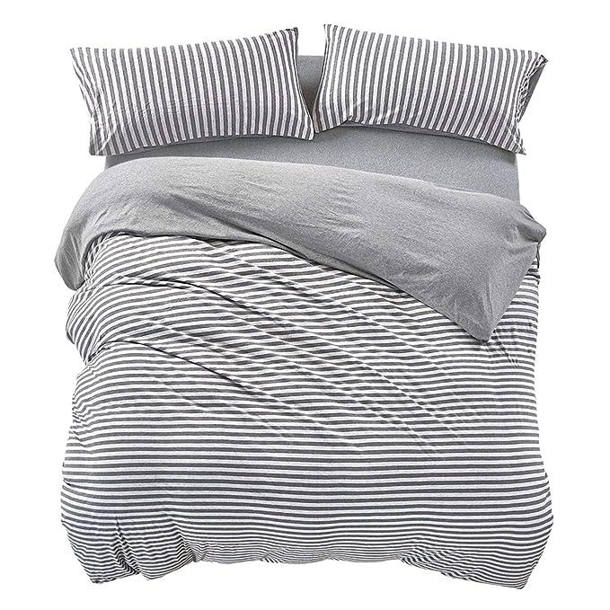 49e5d1fe679 Amazon.com  PURE ERA Striped Duvet Cover Set Jersey Knit Cotton Soft Comfy  3 Pieces Home Bedding Sets Reversible Duvet Cover with Pillow Shams Grey  Queen  ...