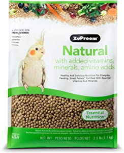 ZuPreem Natural Bird Food Smart Pellets for Medium Birds | Made in USA, Essential Vitamins, Minerals, Amino Acids for Cockatiels, Quakers, Lovebirds, Small Conures