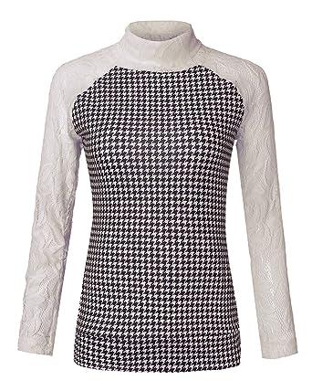 Minetom Damen Rollkragen Pullover Herbst Pulli Sweater Langshirt Sweats  Oberteil Bluse T Shirt Top  Amazon.de  Bekleidung 0da76d9d40