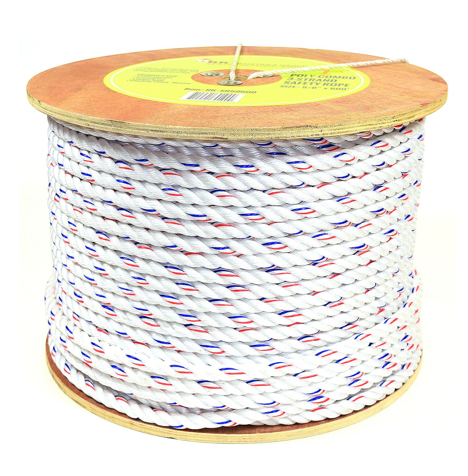RK SR58600 Poly-Combo 3-Strand Safety Rope, 5/8 in x 600 ft